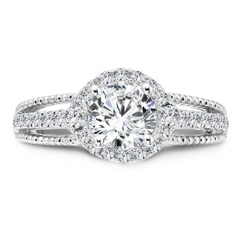 Halo Engagement Ring with Split Shank and Side Stones in 14K White Gold with Platinum Head (1ct. tw.)