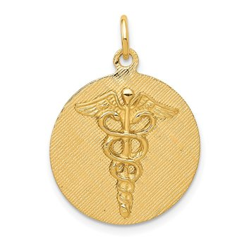 14k Caduceus Disc Charm