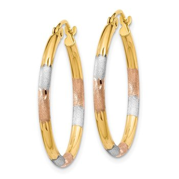 14K Tri-color 2mm Diamond-cut Earrings