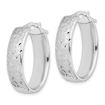 Sterling Silver Rhodium-plated Polished Diamond Cut Oval Hoops