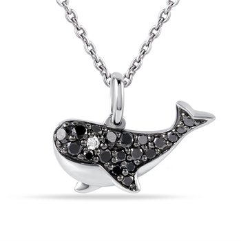 "14K fun whale Pendant with 19 Sapphire 0.36C & 1 Diamond 0.01c 1/2"" by 1/4"" wide"