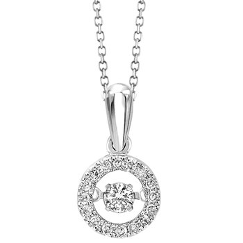 Diamond Eternity Circle ROL Rhythm of Love Pendant White Gold (1/5ctw)