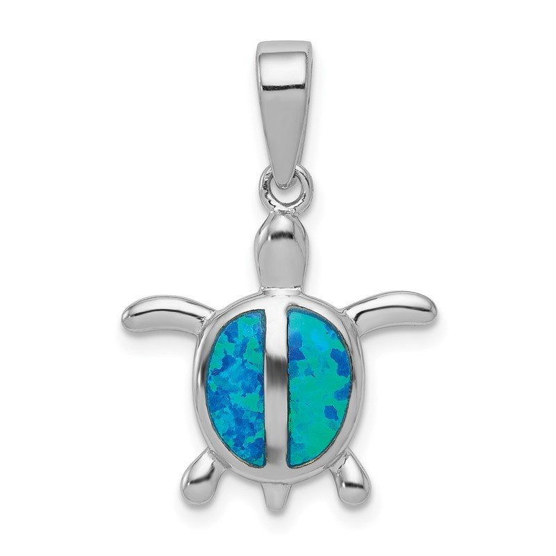 Quality Gold Sterling Silver Rhodium Created Blue Opal Turtle Pendant