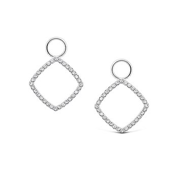 Diamond Square Earring Charms in 14k White Gold with 64 Diamonds weighing .14ct tw