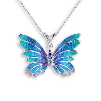 Blue Butterfly Necklace.Sterling Silver-Blue Sapphire