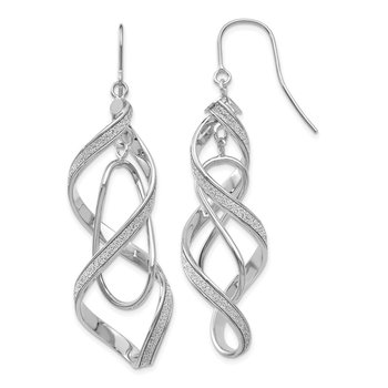 14k White Gold Polished Glitter Infused Spiral Dangle Earrings