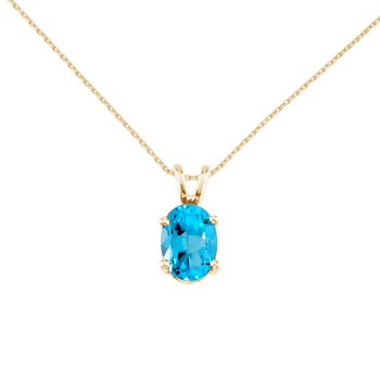 14k Yellow Gold Oval Blue Topaz Pendant