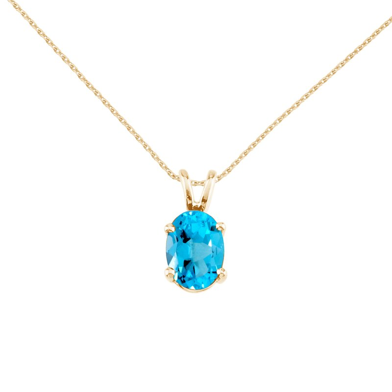 Color Merchants 14k Yellow Gold Oval Blue Topaz Pendant