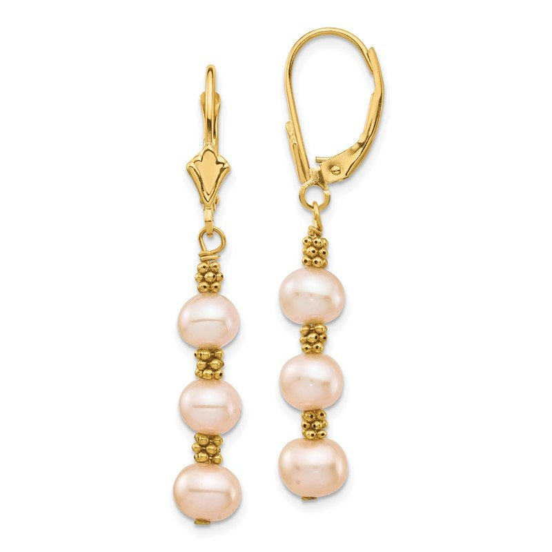 Quality Gold 14K 5-6mm Pink Semi-round Freshwater Culutured Pearl Leverback Earrings