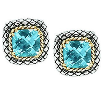 18kt and Sterling Silver Cushion Blue Topaz Button Earrings