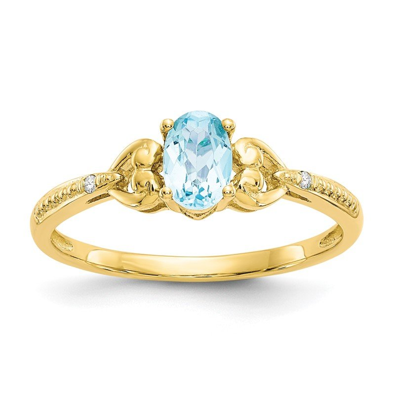 Quality Gold 10K Light Swiss Blue Topaz and Diamond Ring