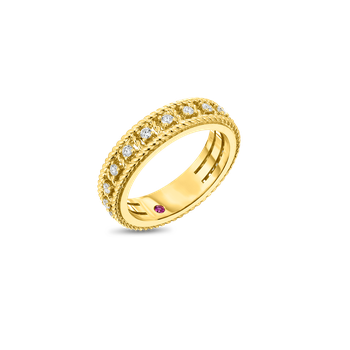 18KT GOLD SINGLE ROW RING WITH DIAMONDS