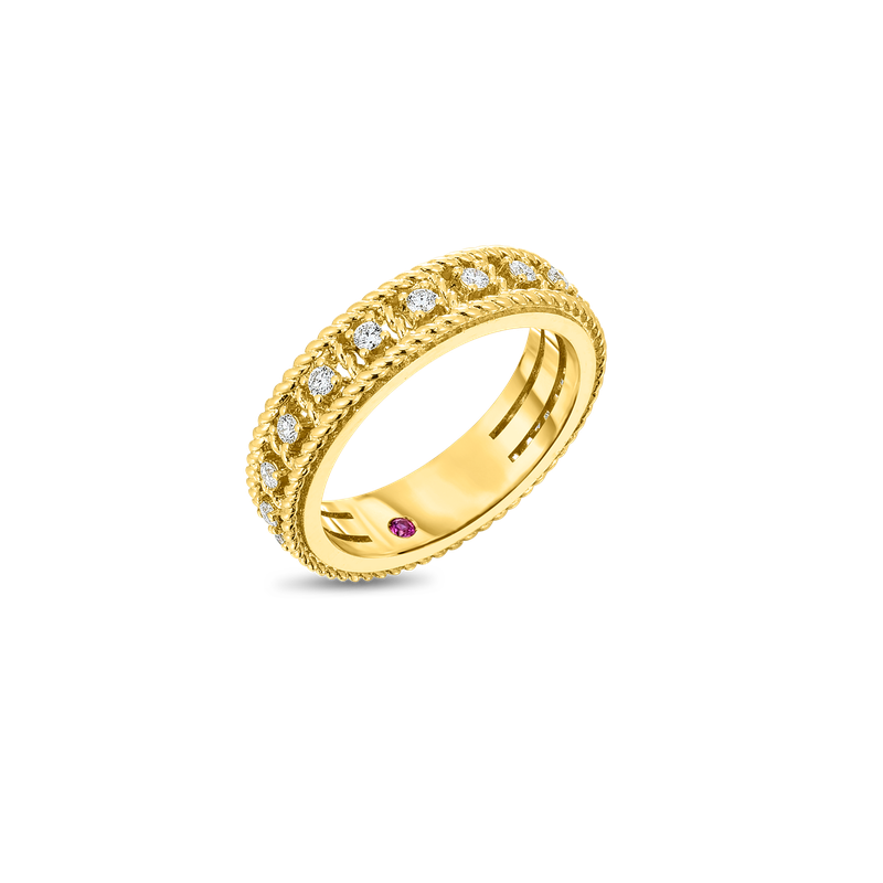 Roberto Coin  #27663 Of 18Kt Gold Single Row Ring With Diamonds