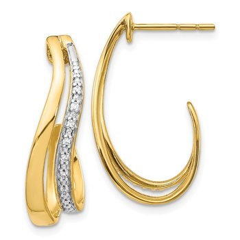 14k w/Rhodium Diamond J-Hoop Post Earrings