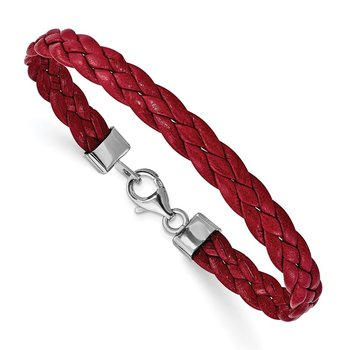 Sterling Silver Rhodium Plated Red Braided Leather 7in Bracelet