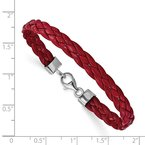 Quality Gold Sterling Silver Rhodium Plated Red Braided Leather 7in Bracelet