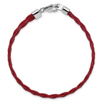 Sterling Silver Rhodium-plated Red Braided Leather Bracelet