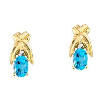 14k Yellow Gold 6x4 mm Blue Topaz and Diamond Oval Shaped Earrings
