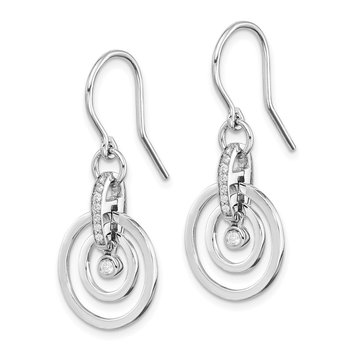 Sterling Silver Rhodium-plated CZ 2-Circle Dangle Earrings