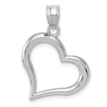14k White Gold Polished Open Heart Pendant