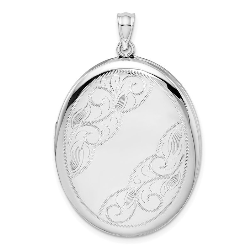 Quality Gold Sterling Silver Rhodium-plated W/ Side Swirls 34mm Oval Locket