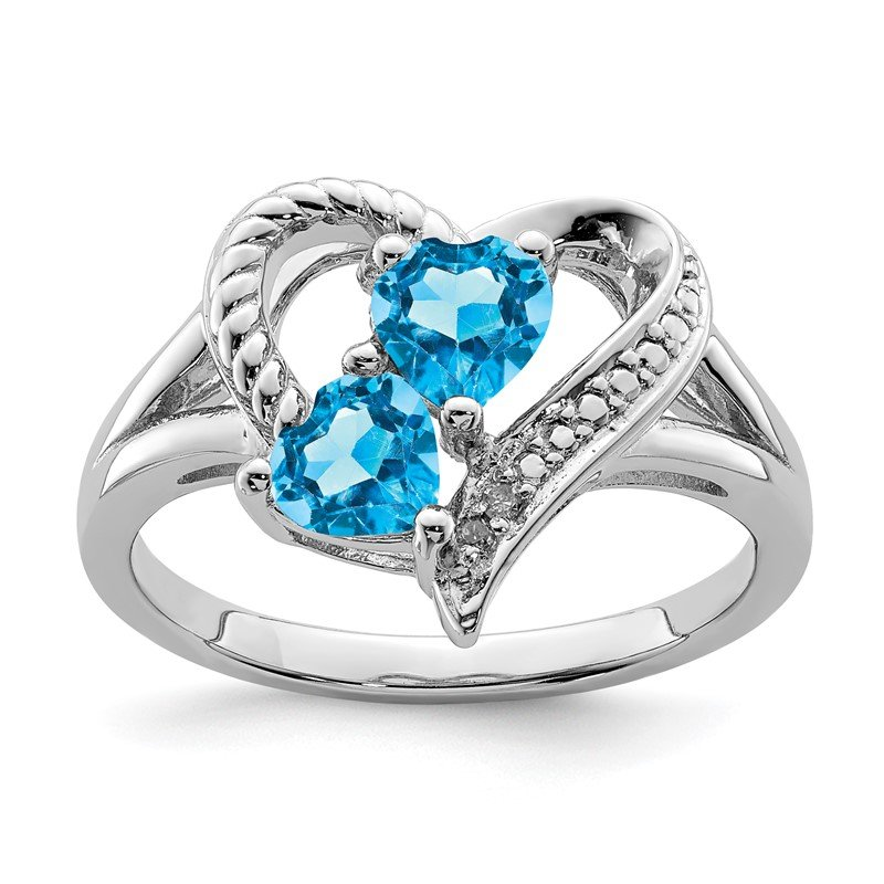 Quality Gold Sterling Silver Rhodium Blue Topaz Diam. Ring