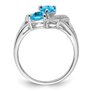 Sterling Silver Rhodium Blue Topaz Diam. Ring