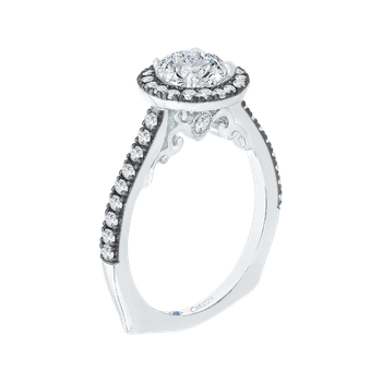18K White Gold with Black Rhodium Tips Round Diamond Halo Engagement Ring (Semi-Mount)