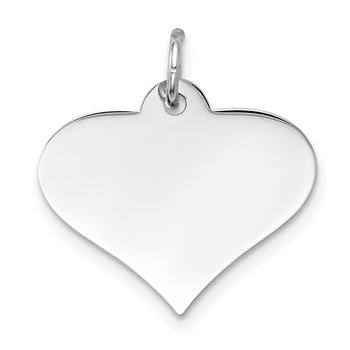 14k White Gold Plain .011 Gauge Engraveable Heart Disc Charm