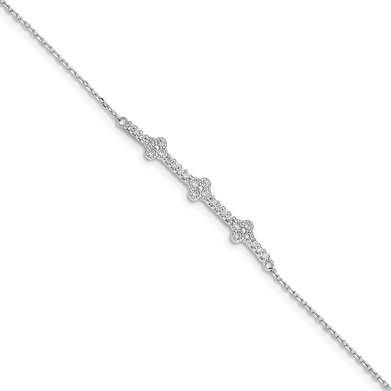J.F. Kruse Signature Collection Sterling Silver Rhodium Plated CZ w/ 1.25in ext. Bracelet