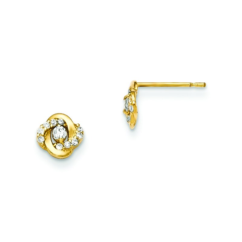 Quality Gold 14k Madi K CZ Children's Post Earrings