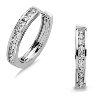 Channel set Diamond Hoops in 14k White Gold (1ct. tw.) HI/SI2-SI3