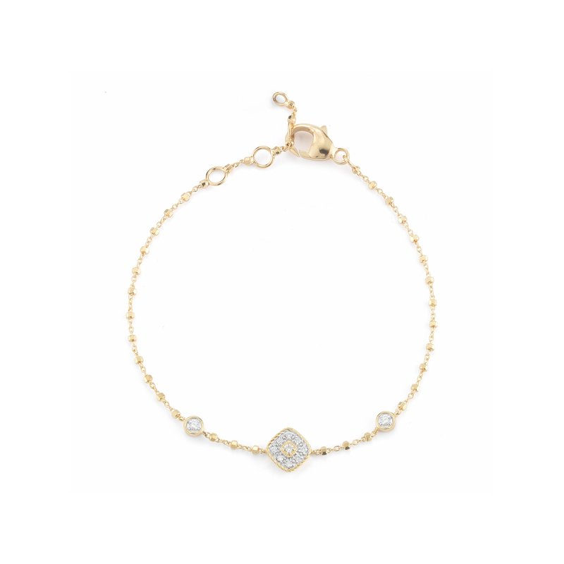 ALOR Aloro Yellow Gold Bracelet with Diamond Shaped Diamond Center Station