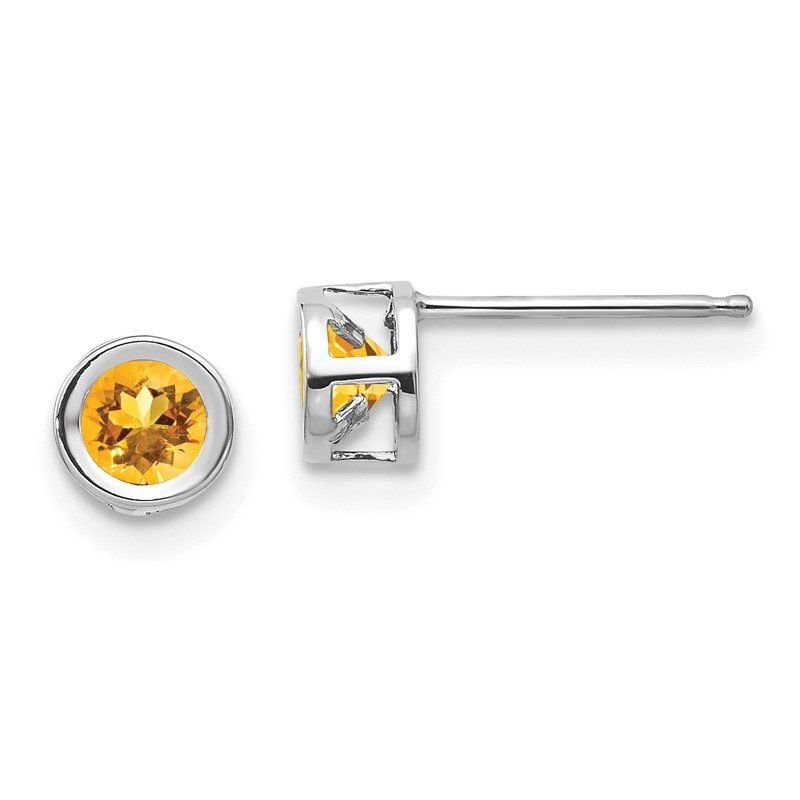 Quality Gold 14k White Gold November 4mm Citrine Earrings