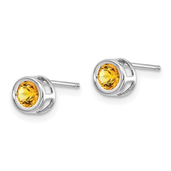 14k White Gold November 4mm Citrine Earrings