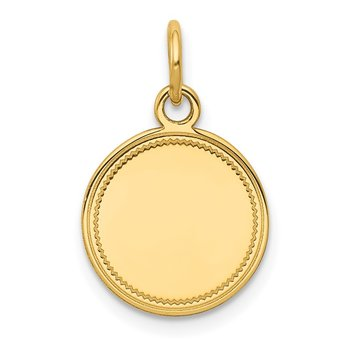 14k Plain .027 Gauge Engravable Round Disc Charm