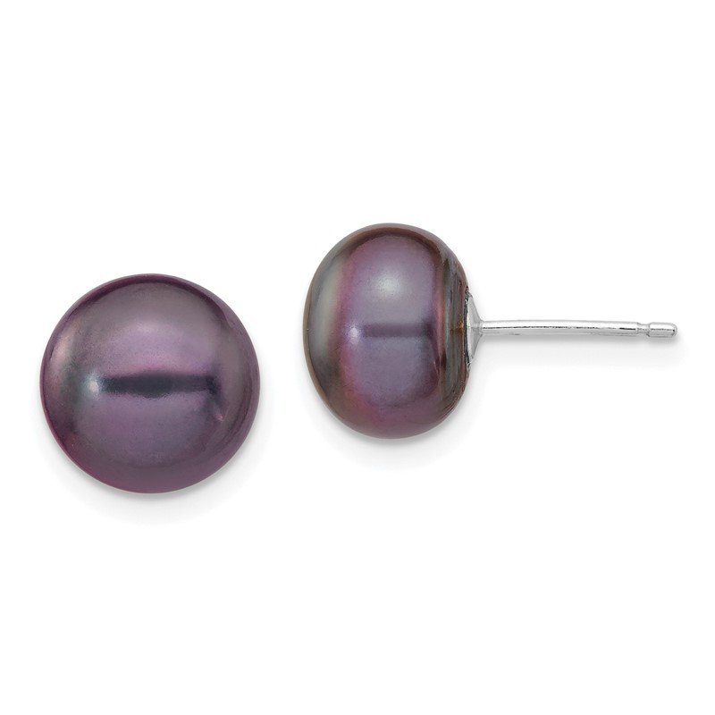 Quality Gold 14k White Gold 9-10mm Black Button FW Cultured Pearl Stud Post Earrings