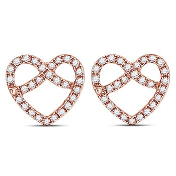14kt Rose Gold Womens Round Diamond Pretzel Heart Stud Earrings 1/6 Cttw