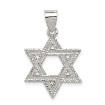 Sterling Silver Satin Star of David Charm