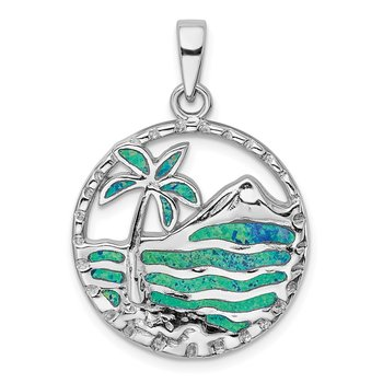Sterling Silver Rhod-plated Created Opal Palm Tree Ocean Pendant