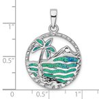 Quality Gold Sterling Silver Rhod-plated Created Opal Palm Tree Ocean Pendant