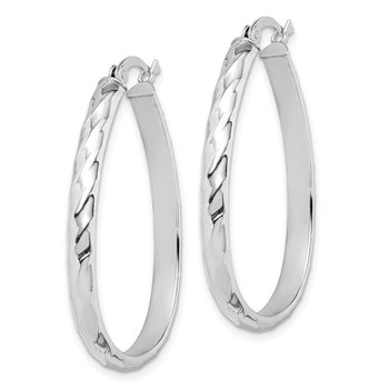 Sterling Silver 4mm Textured Hoop Earrings