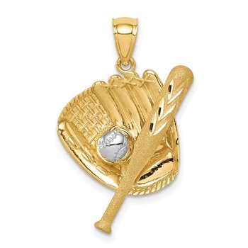 14K D/C White Rhodium Baseball Bat Glove Ball Pendant