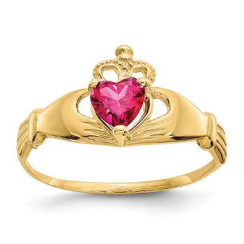 14k CZ July Birthstone Claddagh Heart Ring