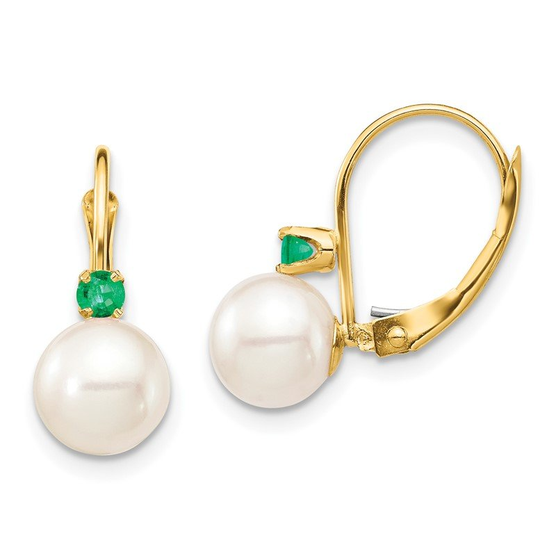 Quality Gold 14K 7-7.5mm White Round FWC Pearl Emerald Leverback Earrings