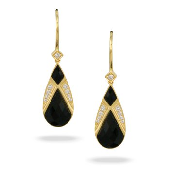 Gatsby Onyx & Diamond Dangles