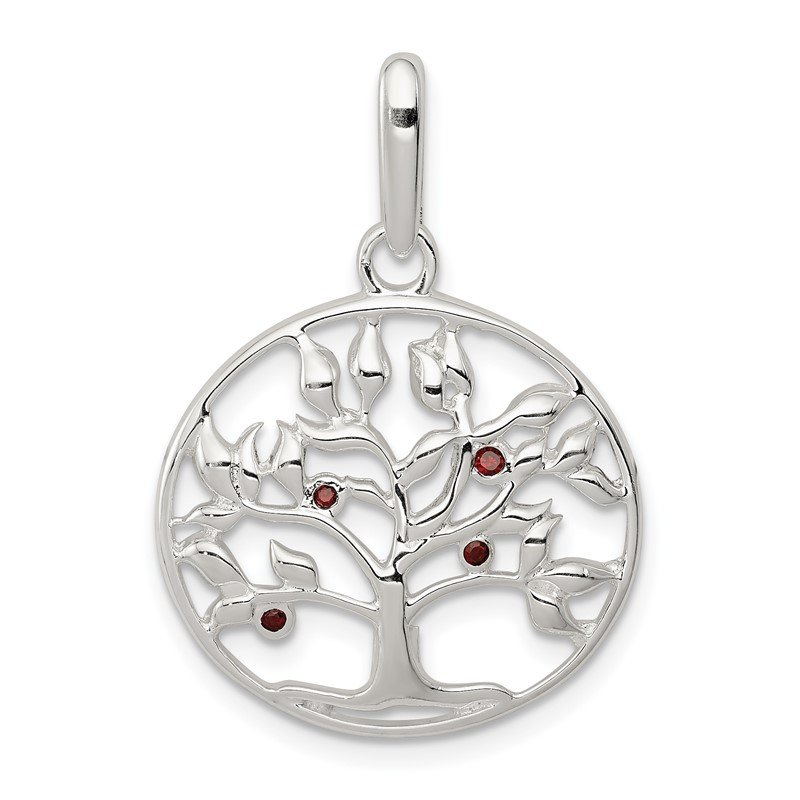 Quality Gold Sterling Silver Polished Red CZ Tree Circle Pendant