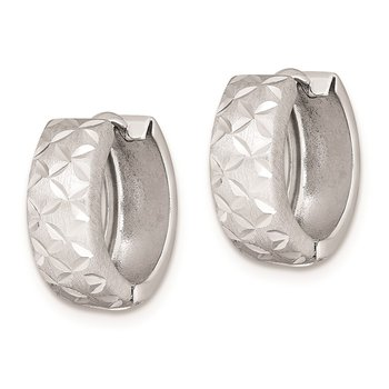 Sterling Silver Rhodium-plated Diamond Cut Hinged Hoop Earrings