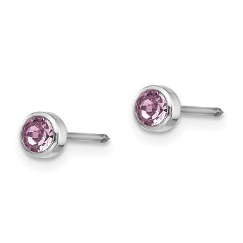 Inverness 14k White Gold 4mm June Crystal Bezel Earrings