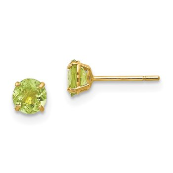 14k Madi K Round Peridot 4mm Post Earrings